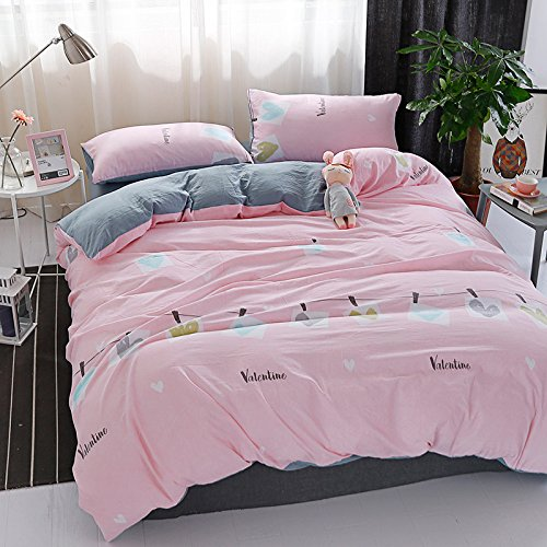 KFZ Bett Set (Zwei Full Queen King Size) [4 Stück: Bettbezug, Bettlaken, 2 Kissenbezüge] keine Tröster JSD Magic Love Raum Krone Herz Triangle Meeting Fruit Cartoon Design für Jugendliche, Kinder, Erwachsene, Microfaser, Heart, Pink, Twin 59