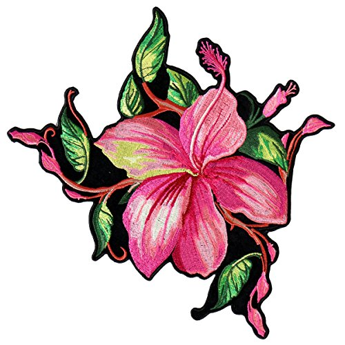 BIG FLOWER, High Thread Embroidered Iron-On / Saw-On Rayon XL PATCH - 9