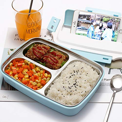 LVKGPZ Edelstahl Lunch Box Sealed Tray Sub-Grid Picknick Schalen Box Mahlzeit Prep Container Subs Sealed Box