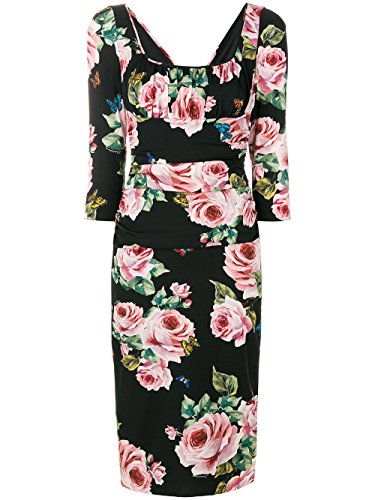 Dolce E Gabbana Damen F67m7tfsat4hnh41 Schwarz Seide Kleid (Dolce Gabbana & Damen-kleider)