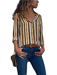 Aleumdr Mujer Blusa Cuello En V Camiseta de Mangas Largas Camisa con  Botones Size S- 1f1a3738ca101