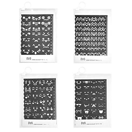 Keleily Zeichenschablonen 4 Stück Schablonen Cartoon Emoticon Schablonen zum Zeichnen, Schreiben, Tagebuch, Einklebebuch DIY Journal Notebook