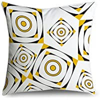 fabricmcc Arancione e bianco retro pattern Square accento decorativo Throw Pillow Cover cuscino 18X 18