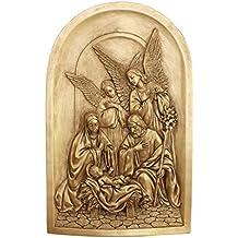 Diseño Toscano–Escultura de pared de Belén con figuras de la Sagrada Familia, oro