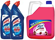 Harpic Original Powerplus - 1000 ml (Pack of 2) + Lizol Disinfectant Surface Cleaner, Floral - 5 L