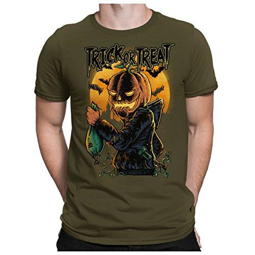 PAPAYANA - TRICK-OR-TREAT - T-Shirt Kurzarm - Halloween Candies Kürbiskopf Pumpkin Kostüm - , 5XL, oliv