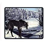 Drempad Alfombrillas De Ratón Custom, Gaming Mouse Pad Custom,Wolf in The Snowy Forest Mouse Pads Large Mat for Laptop Computer 11.8X9.85 Inch (300mmX240mmX3mm)