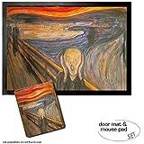 Set: 1 Fußmatte Türmatte (70x50 cm) + 1 Mauspad (23x19 cm) - Edvard Munch, Der Schrei, 1893
