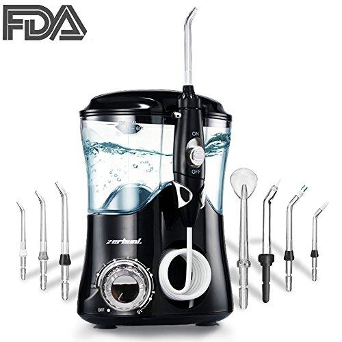 Elektrische Munddusche, Dentale Oral Irrigator - 600ml Wassertank Dental Familie Wasser Flosser für Zähne mit 10 einstellbaren Druckeinstellung und 7 funktionale Jet-Düsen, CE, FDA Zertifiziert