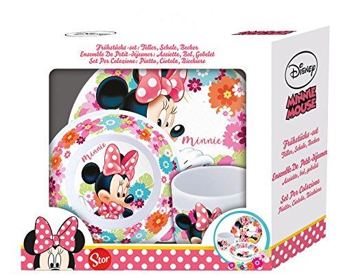 Juego de desayuno de 3piezas de Minnie Mouse de Disney, en caja de cartón con ventana, incluye plato, cuenco para cereales y vaso