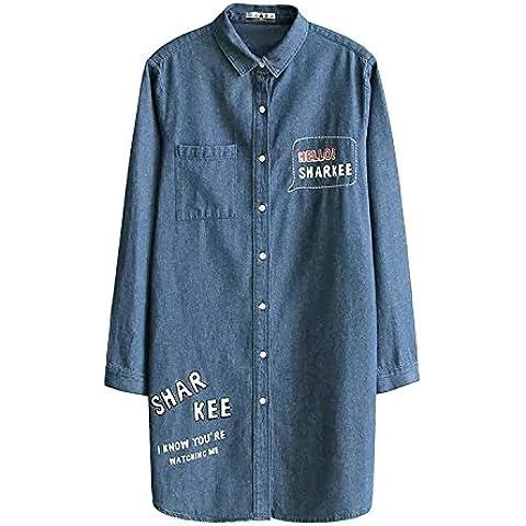 Camicie lunghe jeans manica lunga camicia donna , denim blue , l