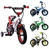 AMIGO - BMX Turbo - Bicicletta Bambini - 12'' (per 3-4 Anni) - con stabilizzanti - Bianco/Rosso