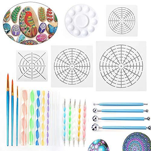 25 Stück Mandala Rock Punktierung Werkzeuge Rock Malerei Werkzeuge Dotting Tools dot painting für DIY Malerei Polymer Clay Keramik Nail Art Handwerk Prägung Muster Zeichnung Drafting (Set 25) -