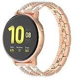 TiMOVO Cinturino Universale 20mm Compatibile con Galaxy Watch 42mm/Active/Active 2/Gear Sport/Garmin Vivomove/HR/Vivoactive 3, Speciale Catene di Strass Cinturino in Lega per Smartwatch - Oro Rosa