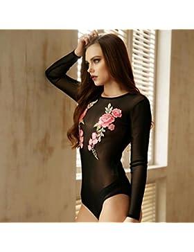 blusas de mujer, Switchali Mujer Manga larga camisas mujer de vestir fiesta atractivo mono Floral Malla vestido...