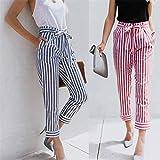 Pantalons Femme Ete Pantalons Femme Taille Haute Pantalons Femme Chic Sexy Taille Haute Rayure Mode Large Pantalon DéContracté Jambe (S, Rose)