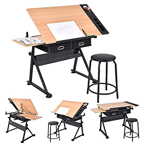 CASART Tiltable Tabletop Drawing Table Art and Study Desk w/ Stool & Drawers for Child Students (Style