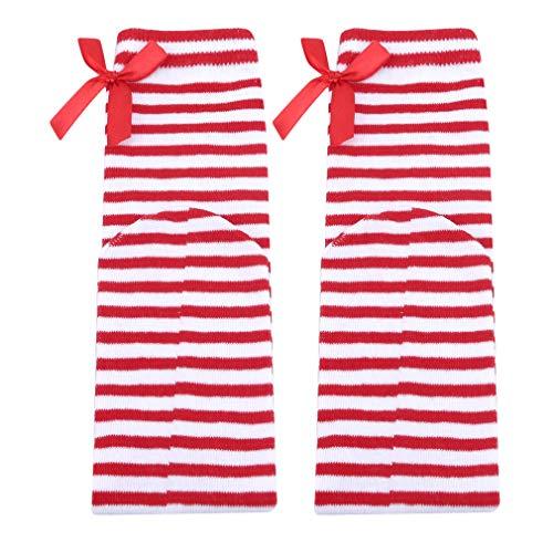 MOONQING Frauen-Mädchen-Schenkel-hohe Strümpfe über den Kniestrümpfen mit Satinschleifen, roten und weißen Streifen