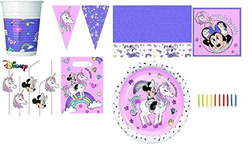 Mgs33 Pack 74 Minnie Mouse Disney et la Licorne , kit fêtes 6/8 Enfants pour Anniversaires Filles , Minnie la Souris et la Licorne métallique, Unicorn Dream