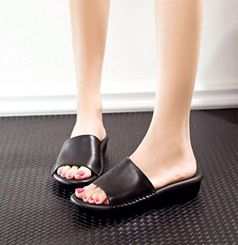 Frau Sommer Sandalen bequeme flache Sandalen und Pantoffeln rutschfeste Hausschuhe Wort Black