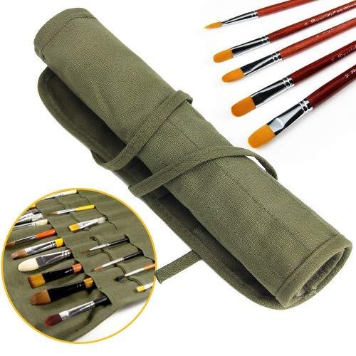 Jtdeal, porta pennelli da pittura,22 scomparti per riporre i pennelli per tempere acriliche, a olio, acquerelli, pennelli da artista, rotolo...