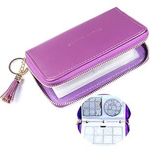 FingerAngel 24 Slots Nail Stamping Plate Holder Case Round Square Rectangular Nail Art Stamp Plate Organizer(purple)