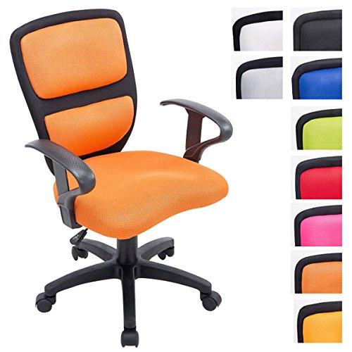 Clp sedia per bambini einstein con braccioli, sedia per cameretta dei ragazzi con fodera in rete, imbottita, altezza della seduta 40 - 50 cm, sedia per scrivania bambina e bambino nero_arancione