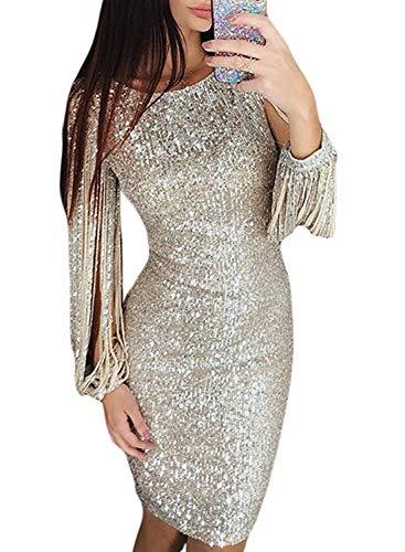 Minetom Damen Festlich Hochzeit Kleider Glänzend Pailletten Elegant Lang Abendkleid Langarm Quaste Cocktailkleid Maxikleid Partykleid B Silber DE 34