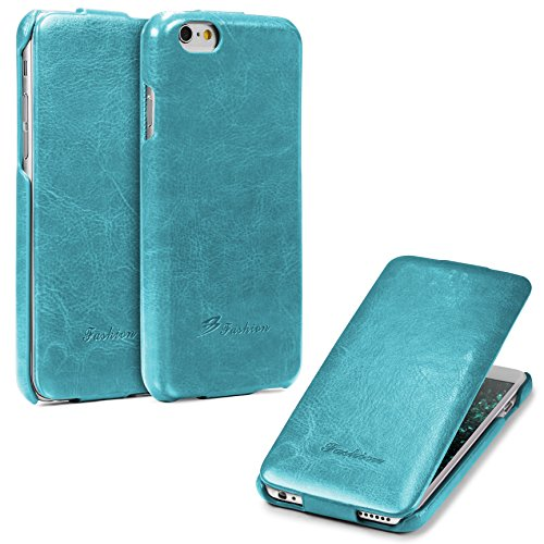 Urcover® Apple iPhone 6 / 6s Schutz-Hülle | Flip Cover Rot | Fashion Klapp Tasche | Handy Smartphone Zubehör Case für Apple iPhone 6s / 6 Hell Blau