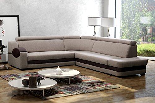 große Ecksofa Sofa Eckcouch Couch mit Schlaffunktion und Bettkasten mit Hocker Ottomane L-Form Schlafsofa Bettsofa Polstergarnitur Wohnlandschaft - DENVER...