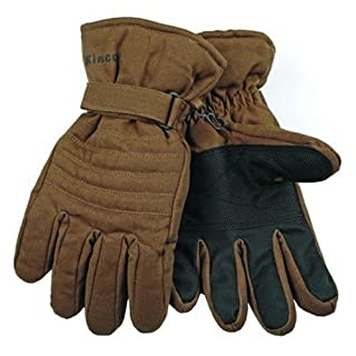 KINCO 1170-M Men's Ski Gloves, Duck Fabric, Waterproof with Heat keep Lining, Medium, Brown by KINCO INTERNATIONAL