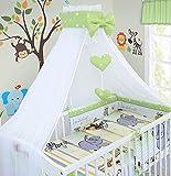 Luxus 100Baby Bettwäsche Set Kissen Bettbezug Bumper himmel für Kinderbett 120x 60cm 100% Baumwolle (Safari grün)