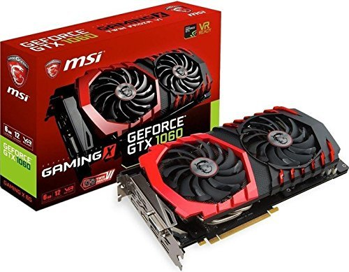 MSI NVIDIA GTX 1060 Gaming X 6G Grafikkarte (HDMI, DP, DL-DVI-D, 2 Slot Afterburner OC, VR Ready, 4K-optimiert) (Geforce Grafikkarten 980)