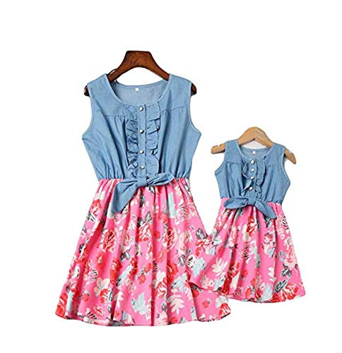 Floral Pleated Skirt (Mutter und Tochter Kleider Set.Mommy and Me Denim Sleeveless Mini Dress Floral Print Pleated Skirt Summer Outfits (rot, XL))