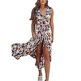 Vestidos Mujer Verano 2018,Mujeres sexy estampado floral ajustable sin mangas de encaje-up Split Maxi vestido largo LMMVP (A, S)