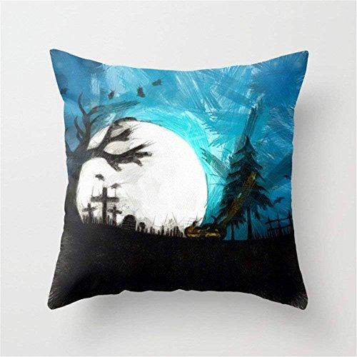 LarissaHi Happy Halloween Series Pattern Dekokissen Fall Kissenbezug Dekorative Baumwollmischung Leinen Kissenbezug für Home Office Sofa Platz-Halloween Moon 18 X 18 Zoll