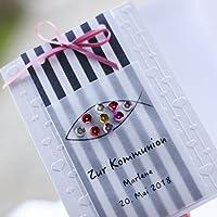 10 personalisierte Einladungskarten Einladung zur Kommunion Konfirmation Firmung Mädchen Streifen rosa Handarbeit binnbonn