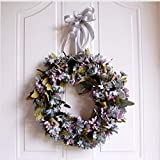 Wuwenw Garland Door Ornaments Wedding Wall Decoration Navidad Daisy Ring 35Cm, C