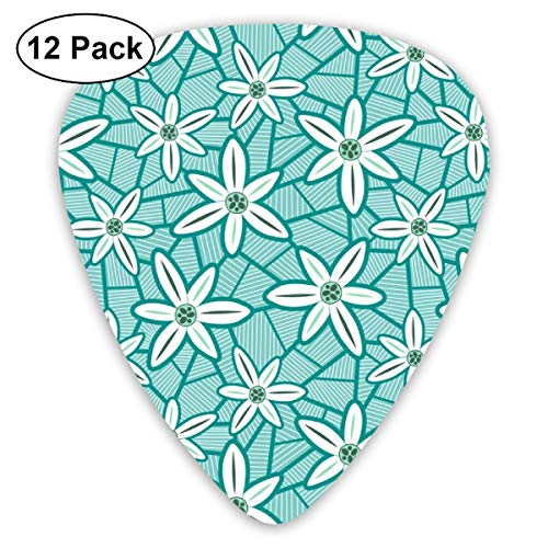 Lilies (Teal)_3026 Classic Celluloid Picks, 12-Pack, For Electric Guitar, Acoustic Guitar, Mandolin, And Bass