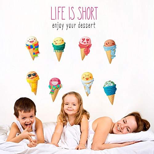 LQRRHY Bunte Sommer EIS Wandaufkleber Aufkleber Kinderzimmer Küche Kinder Schlafzimmer Lebensmittel Shop Decor Geschenke Wandbild