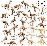 UPINS 30 Pack Dinosaur Fossil Skeletons 3.7 Inch Assorted Dinosaur Skeleton Toy Figures Dino Bones Educational