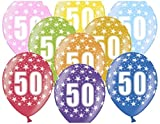 Libetui 10 kunterbunte Luftballons Metallic 30cm Deko Zum 50.Geburtstag Party Geburtstagsparty Happy Birthday Dekoration (Zahl 50)