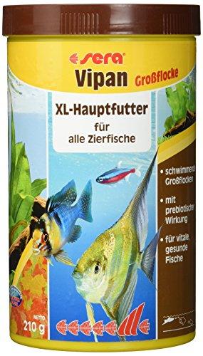 sera 00175 vipan Großflocken 1000 ml -  der Klassiker - Hauptfutter für alle Zierfische in Gesellschaftsaquarien, Flockenfutter, für schönere und größere Fische (Vitamin C In Fisch)
