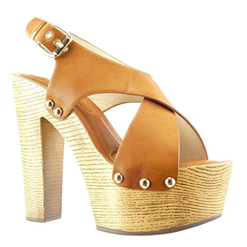 Angkorly - Scarpe da Moda zoccoli sandali zeppe donna borchiati