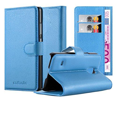 Cadorabo - Book Style Hülle für Samsung Galaxy S5 MINI (SM-G800F) - Case Cover Schutzhülle Etui Tasche mit Standfunktion und Kartenfach in PASTEL-BLAU