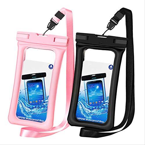 Rentlooncn Ipx8 wasserdichte Tasche case universal 6,5 Zoll Handytasche Schwimmen caseFoto unter Wasserfür iPhone XSSamsung Huawei 2 stücke schwarz rosa (Rosa Gehäuse Für Iphone 4s)