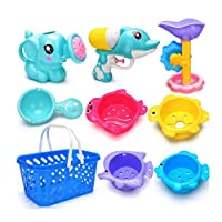 Unionup 9PCS/Set Children Bath Toys Cartoon Water Bathing Education Tools Baby Shower Beach Toy Elephant Watering Pot Gifts