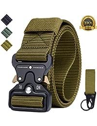 Cinturón Táctico, Tenine Cinturón Militar de Nailon de 1.5 Pulgadas Táctico Resistente con Correa de Metal de Liberación Rápida Para Equipo EDC Molle Táctica Cinturón (Caqui)