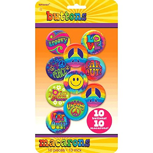 amscan Groovy Ansteck-Buttons, - Peace Out Hippie Kostüm
