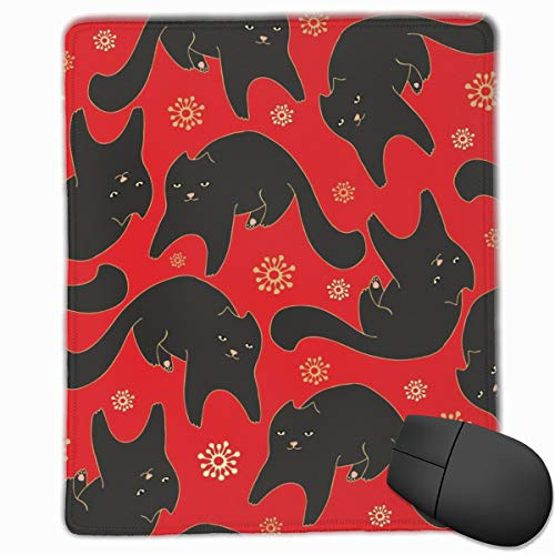Black Cat On Red Carpet Mouse Pad Custom Design Gaming Mouse Mat Computer Mouse Pads with Non-Slip Neoprene Backing 9.8 X 11.8 inch (25 X 30 cm) (Red Carpet-led)